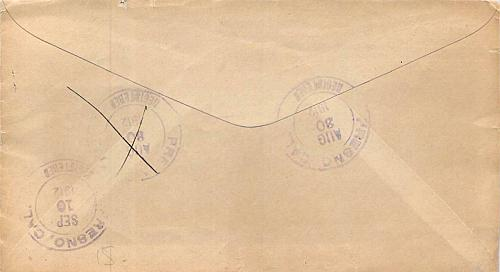 1912 Registered Cover Fresno CA. Tax Assessment Unclaimed Auxillary Markings