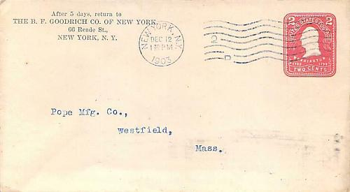 Rare INVERTED International Received Back-stamp Westfield Mass. on 1903 Cover