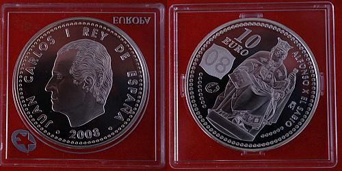 ★ALFONSO X THE WISE★SPAIN 10 EURO 2008 RARE! SILVER PROOF★LOW START★NO RESERV