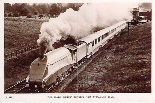 Silver Jubilee, Britain's First Streamline Train Real Photo RPPC Postcard