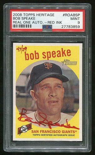 2008 TOPPS HERITAGE REAL ONE RED AUTO BOB SPEAKE PSA 9 MINT (27783859)