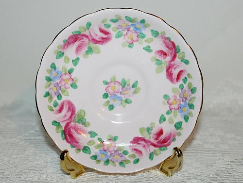 Vintage Tuscan Teacup & Saucer Pink Teacup Pink Roses and Flower Border VGC