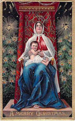 A Merry Christmas Madonna and Baby Jesus Embossed Vintage Postcard