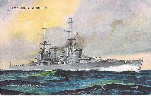 H.M.S. King George V, British Battleship, WWII Era Used Postcard