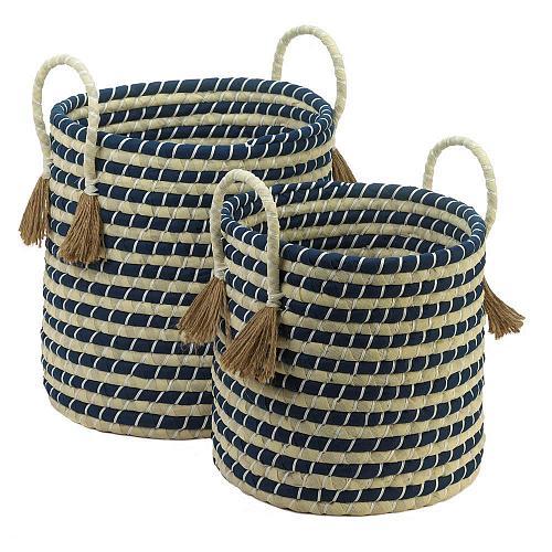 *18726U - Braided Navy & Tan Baskets Accent Tassels Handles 2pc Set