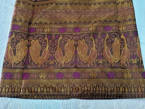 """Brown Gold Lao Laos Synthetic Silk Sinh Skirt for sale Waist can fit to 40"""""""