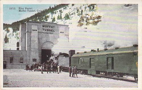 East Portal Moffat Tunnel, Colorado With Steam Engine Vintage Postcard