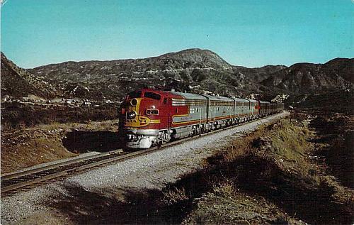 Santa Fe Streamliner, Passing through San Bernadino Mountains Vintage Postcard