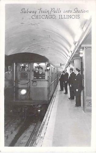 Subway Train Pulls Into Station, Chicago Real Photo RPPC Vintage Postcard