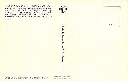Santa Fe Alco Hood Unit Locomotive, Barstow, Calif A.T.&S.F. Vintage Postcard