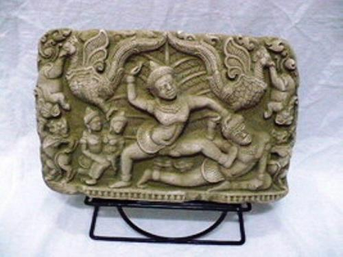 CAMBODIAN ANGKOR WAT APSARAS KHMERS SAND STONE COLLECTIBLE VINTAGE WITH STAND 3