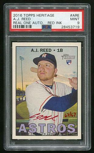 2016 TOPPS HERITAGE REAL ONE RED AUTO A.J. REED PSA 9 MINT (28453719)