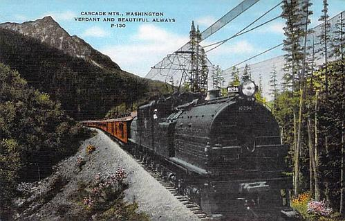 Cascade Mts, Washington, Vermont and Beautiful P-130 Train Vintage Postcard
