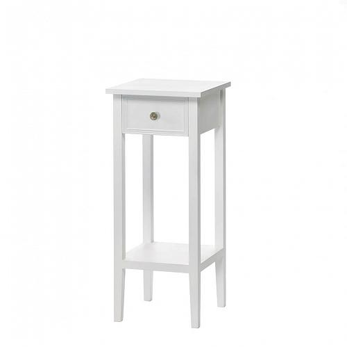 *15981U - Willow White Pine MDF Wood 1 Drawer Slim Accent Side Table