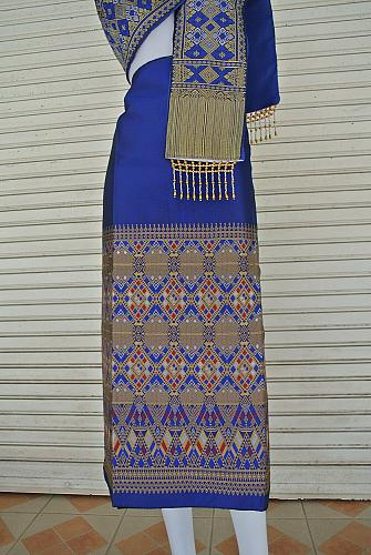 Blue Lao Laos Tradition Synthetic Silk Fabric Glue for sinh Skirt Pha Bieng