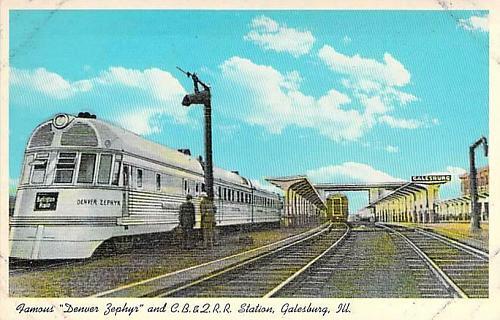 Famous Denver Zephyr and Chicago Burlington and Quincy Railroad Vintage Postcard