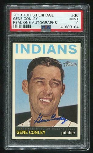 2013 TOPPS HERITAGE REAL ONE AUTO GENE CONLEY PSA 9 MINT (41680184)