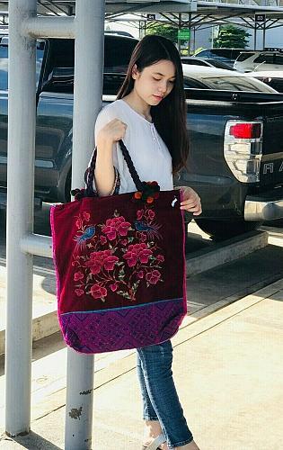 Unique Vintage Thai HMONG Tribal Handmade Floral EMBROIDERED Beads BAG Handbag