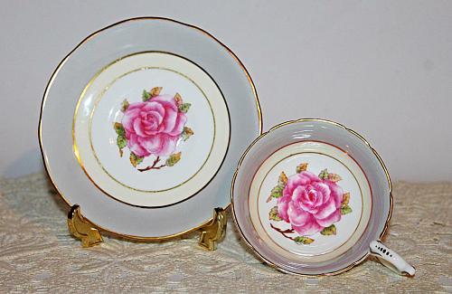 Coalport Teacup & Saucer Large Pink Rose Pattern: Romance, Pale Grey & Yellow