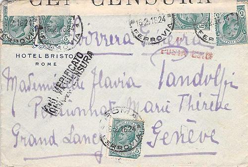1916 WW I Ferrovia Italy Censored Cover to Geneva Switzerland