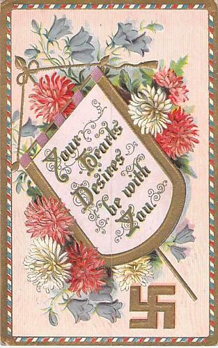 Your Hearts Desires Be With You, Reverse Swastika Vintage Postcard