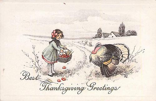 Thanksgiving Greetings, Girl w/ Candy Pumpkins, Turkey Embossed Vintage Postcard