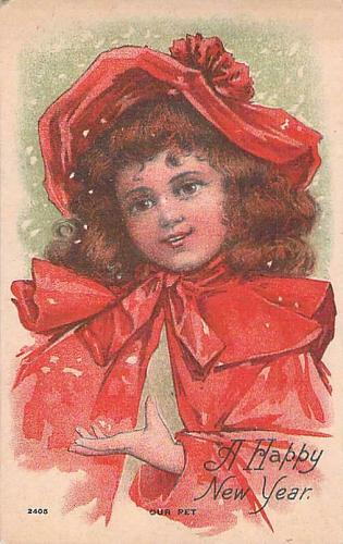 """A Happy New Year Young Child """"Our Pet"""" Vintage Postcard"""