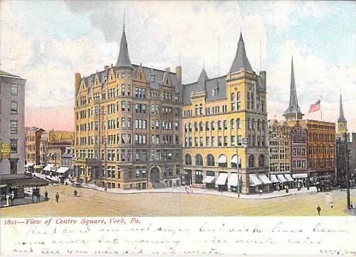 View of Cente Square, York, PA Postcard, Freeland MD, RFD, Type 2FA Cancel 1907