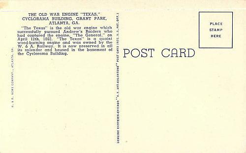 Historical Civil War Engine, Teas Cyclorama Building, Atlanta Vintage Postcard