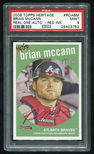 2008 TOPPS HERITAGE REAL ONE RED AUTO BRIAN McCANN PSA 9 MINT (25403752)