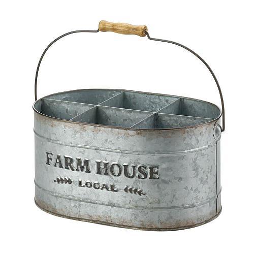 *18572U - Galvanized Oval Metal Farn House Local Wine Bucket