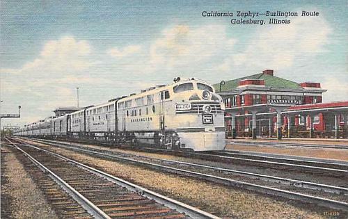 California Zephyr, Chicago Burlington Galesburg, Illinois Vintage Postcard