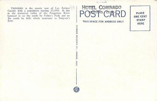 Fisher's Peak, Bird's Eye View of Trinidad, Colo. Unused Vintage Postcard