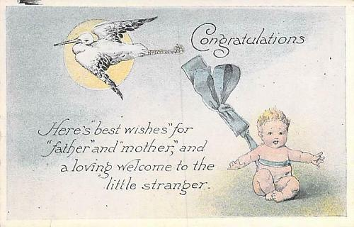 Congratulations Baby Announcement Vintage Postcard