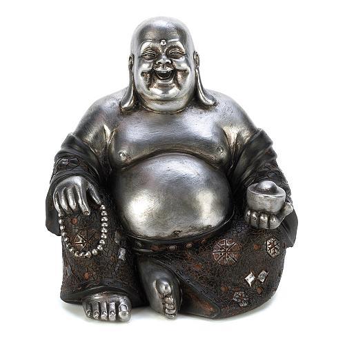 14581U - Happy Sitting Buddha Statue Silver & Black Polyresin Figurine