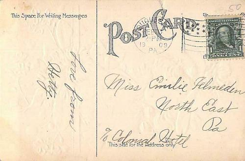 Valentine Greeting Lady with Flowers Embossed Vintage Postcard