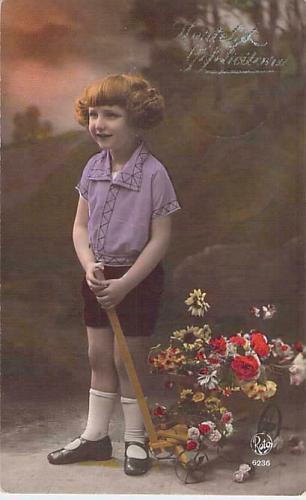 Young Dutch Girl With Cart of Flowers Tinted Real Photo RPPC Used Postcard