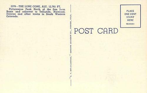 The Lone Cone Near Telluride in Southwestern, Colo. Unused Vintage Postcard