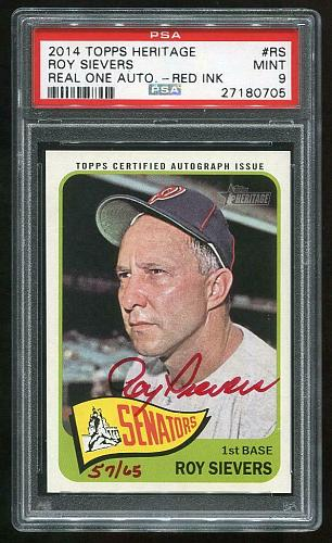 2014 TOPPS HERITAGE REAL ONE RED AUTO ROY SIEVERS PSA 9 MINT (27180705)