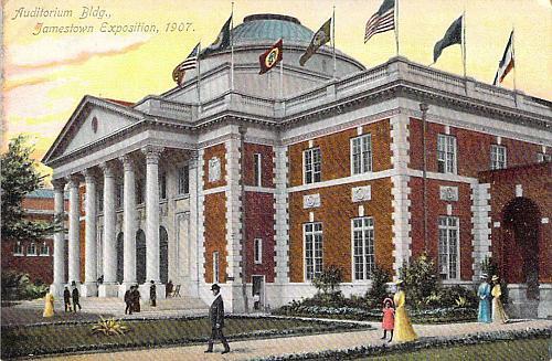 1907 Auditorium Building, Jamestown Exposition Unused Postcard