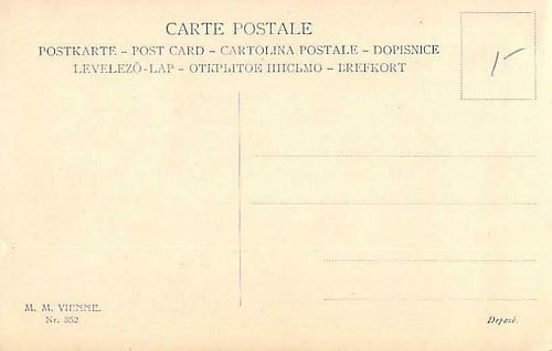 Young Girls Portrait, Artist M.M. Vienne, French Vintage Postcard