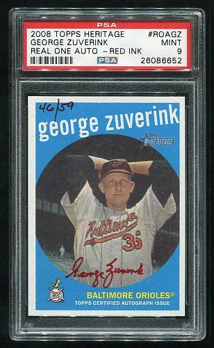 2008 TOPPS HERITAGE REAL ONE RED AUTO GEORGE ZUVERINK PSA 9 MINT (26086652)