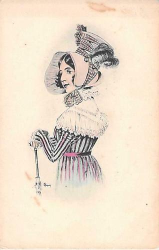 French Young Parisian Turn of the Century Art Lithograph Vintage Unused Postcard
