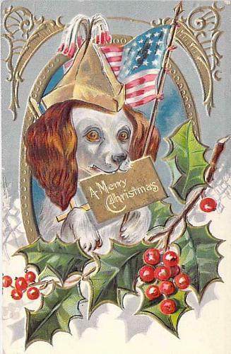 Merry Christmas Patriotic Dog in Framed Embossed Vintage Postcard