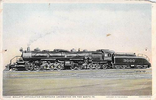 Mallett Articulated Compound Locomotive on the Santa Fe Railroa Vintage Postcard