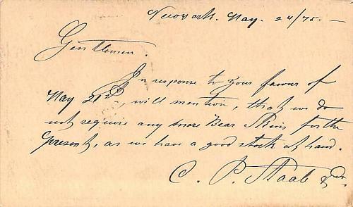 1874 UX3 New York, Negative 6 Fancy Cancel US Postal Card