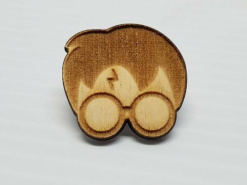 Laser Engraved Harry Potter Head Wood Hat Pin