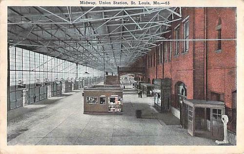 Midway Union Station, St. Louis MO. Railroad Vintage Postcard