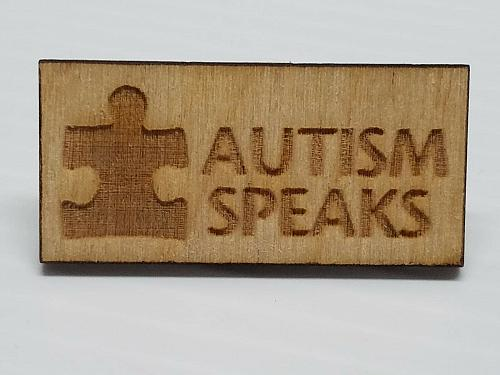 Laser Engraved Autism Speaks Wood Hat Pin