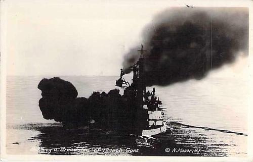 Belching a Broadside of 12 inch Guns US Navy Real Photo Postcard RPPC